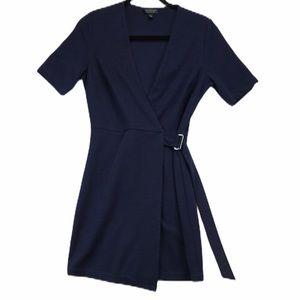 Top shop navy jersey wrap midi dress